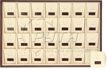 411041 Display tray for 28 rings / Angled removable inserts with wings / Tag window / Vertical clip