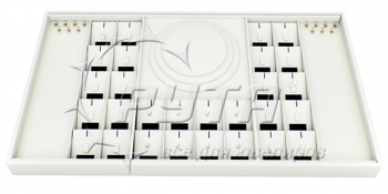 411801 Display tray for 20 rings,  8 pendants,  14 bracelets,  chains. Removable inserts with a tag window,  hooks and clips.